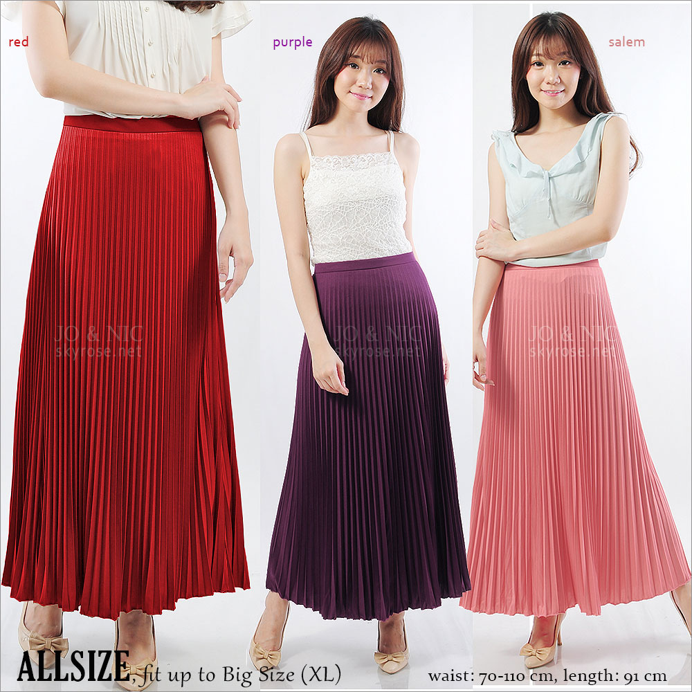 Pleated Long Skirt - Rok Lipit Panjang - 15 warna - fit up to XL