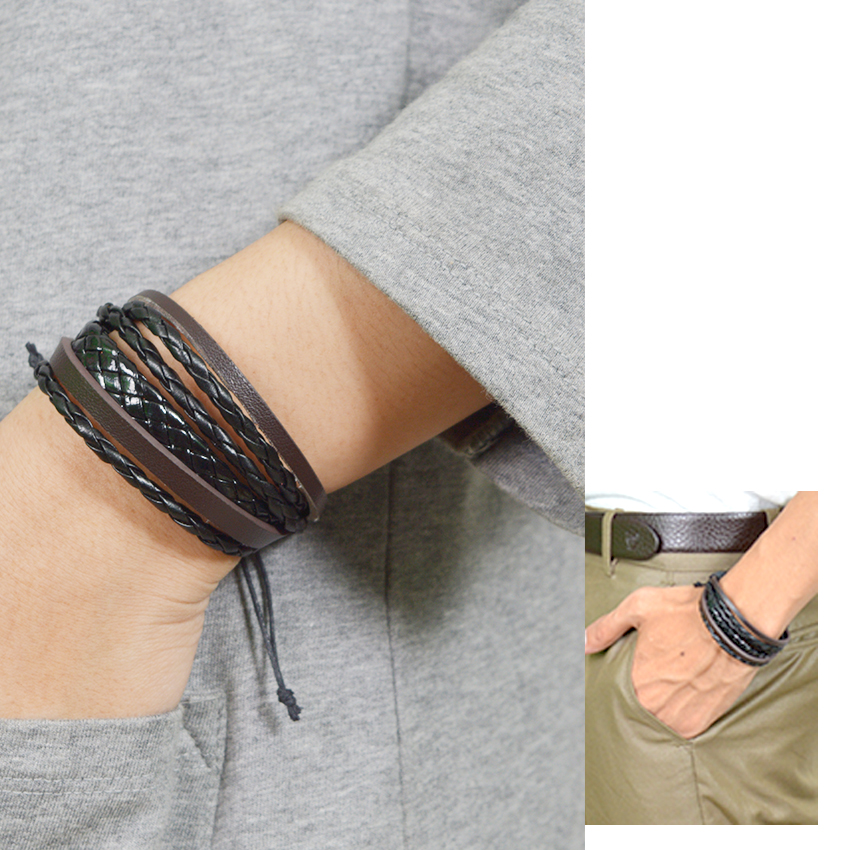 ... Gelang Kulit Multilayer Fashion Pria Wanita Black