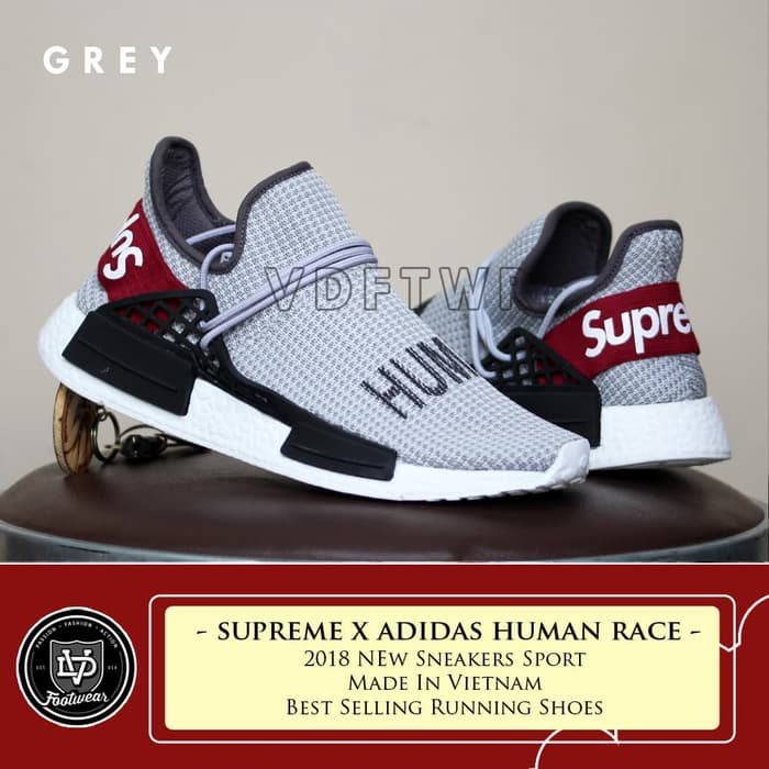 new concept c5d67 07abe SUPREME x ADIDAS HUMAN RACE NMD SEPATU SLIP ON SNEAKERS