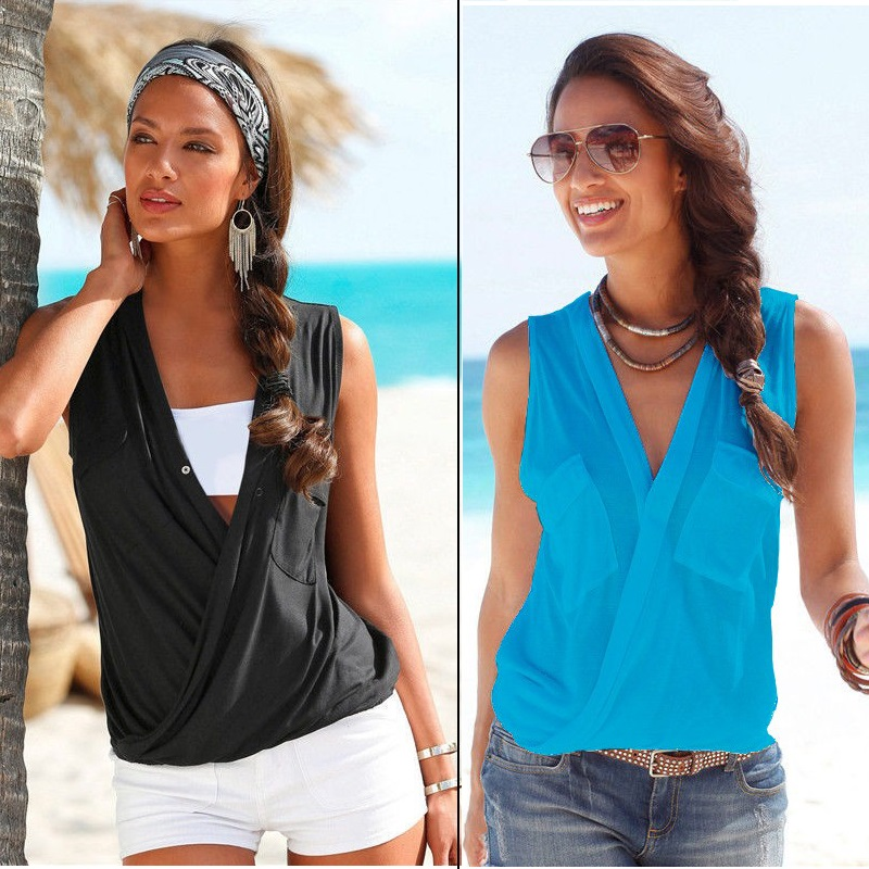 Baju Pantai Wanita Sleeveless V Neck Beach
