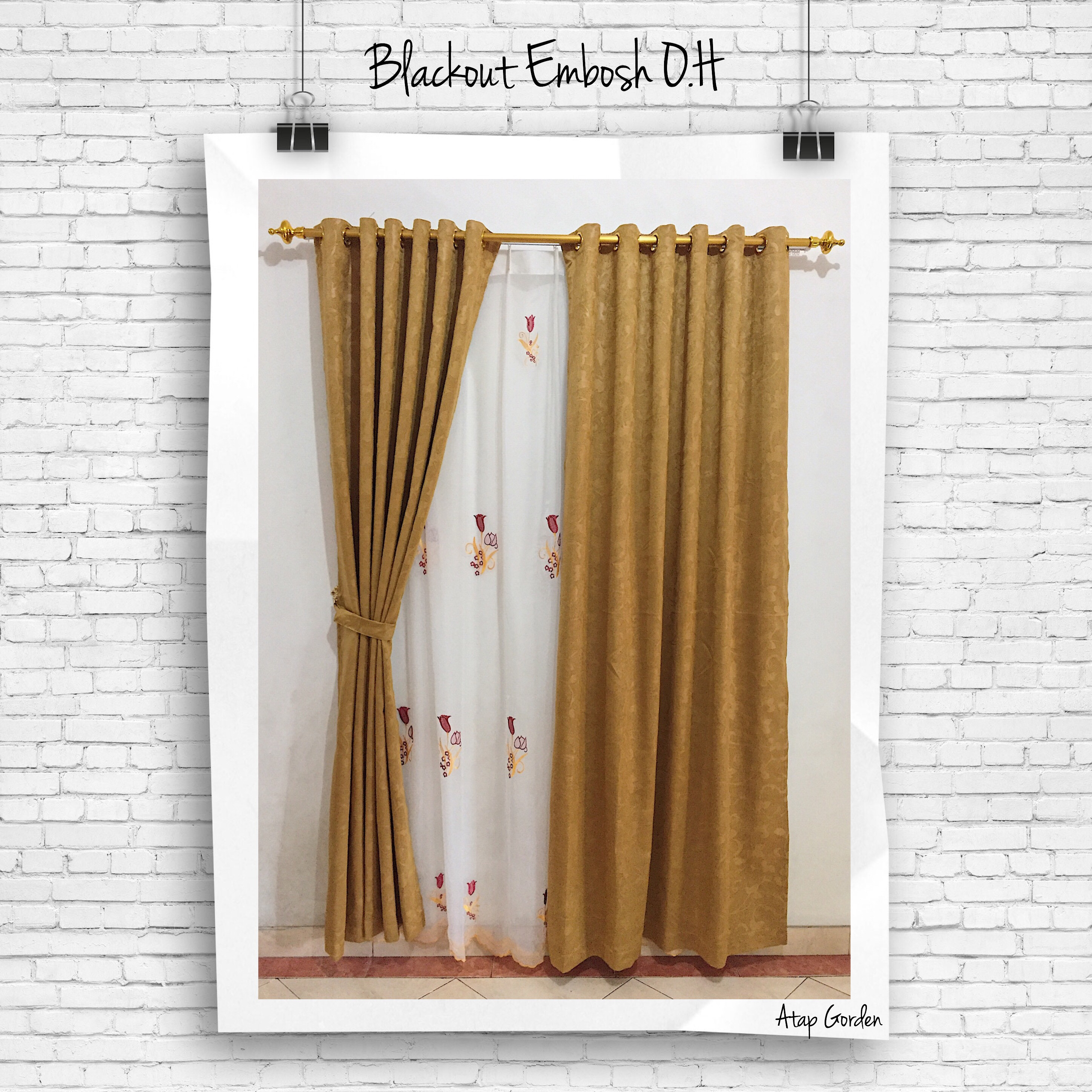 Gorden Minimalis Blackout Embosh Orange Honey Gordyn Tirai Curtains Lokal Pioner Polos Coklat .