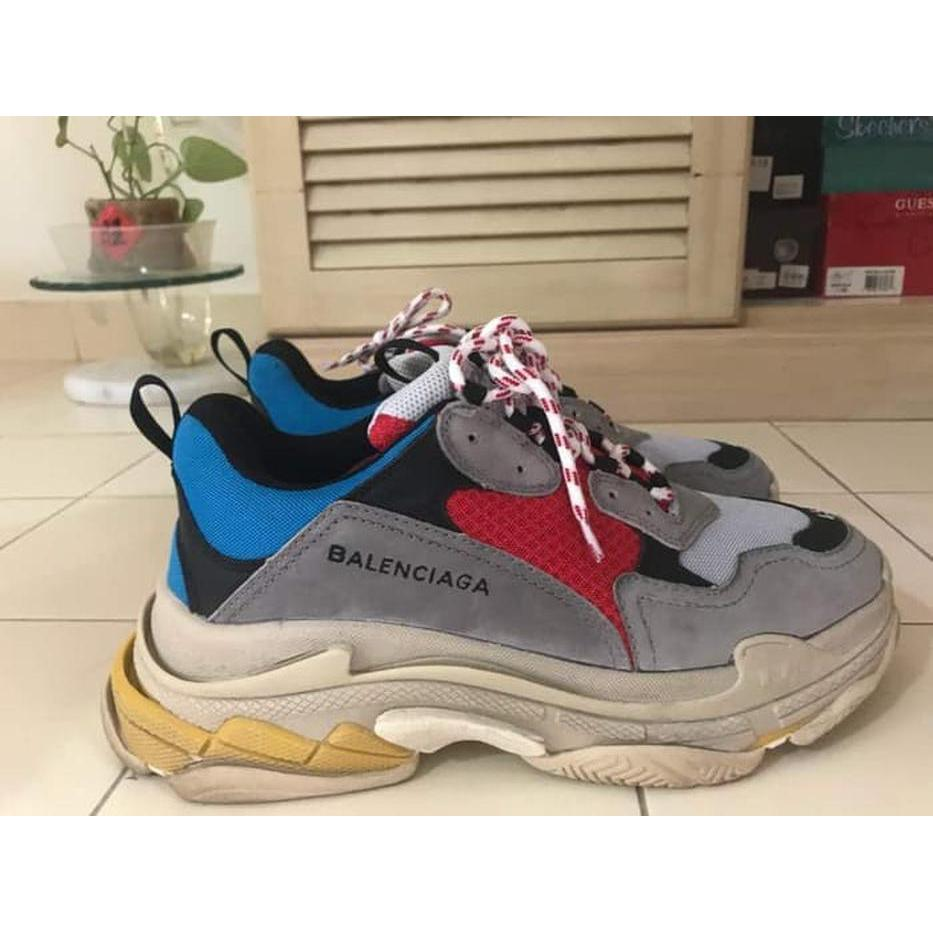 Balenciaga Triple S Grey Red Blue Unauthorized Original Elevenia