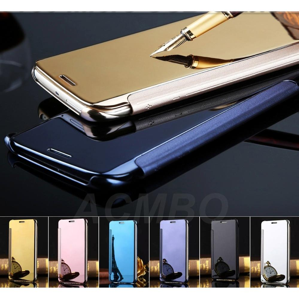 Flip Case Mirror Samsung Galaxy J7 PRIME Smart Cover Hard Backcase Slim Electroplating