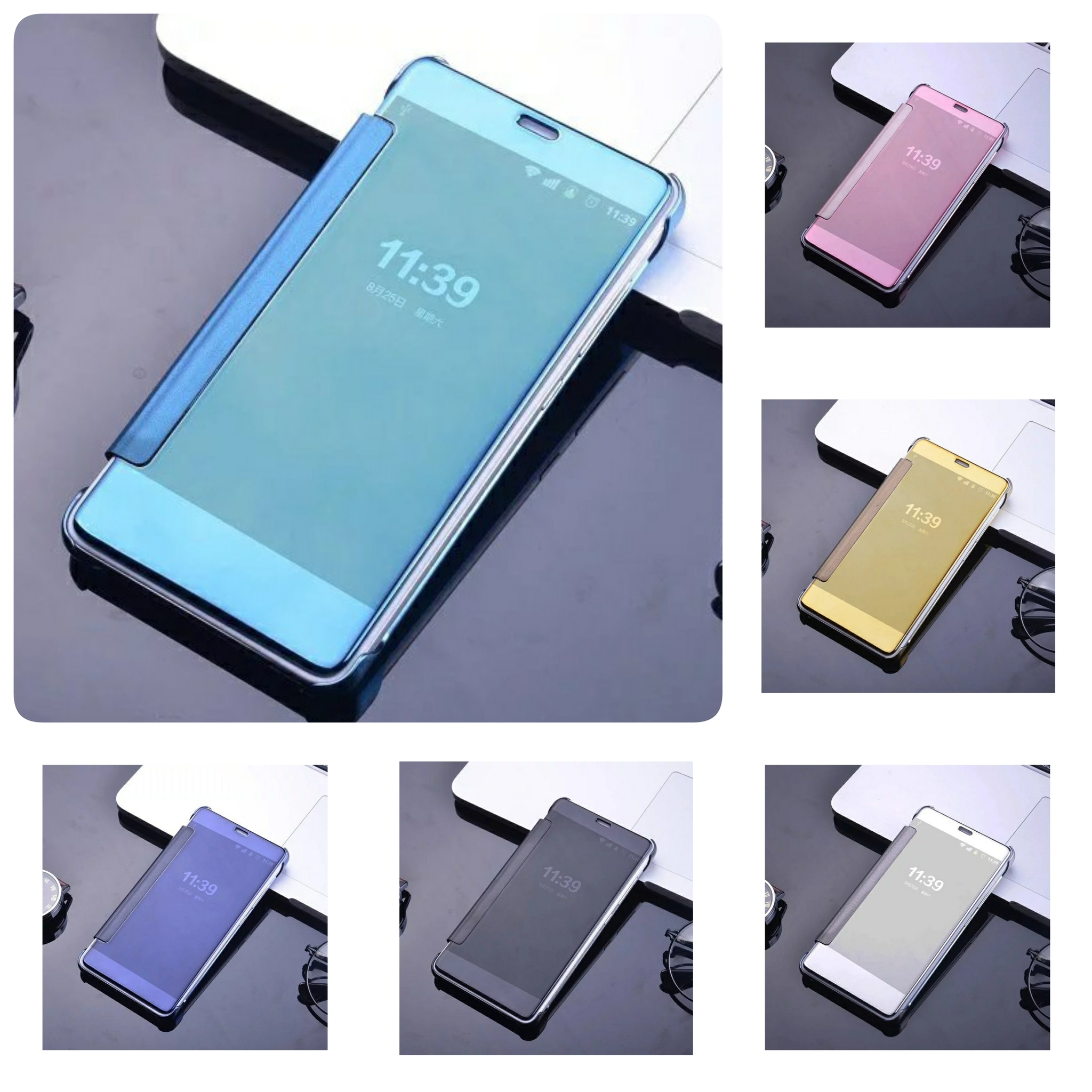 buy popular d5d8c b9d96 Flip Case Mirror Xiaomi Redmi Note 3 Smart Cover Hard Backcase Slim  Electroplating