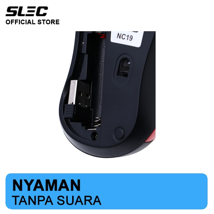 ... Mouse Wireless SLEC NC19 Silent Click - Merah ...