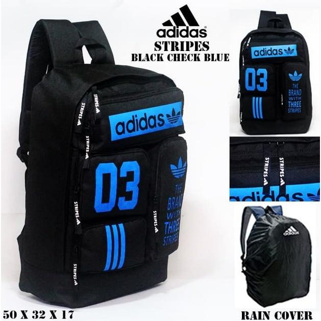 Tas casual ransel adidas stripes hitam and blue bonus rain cover