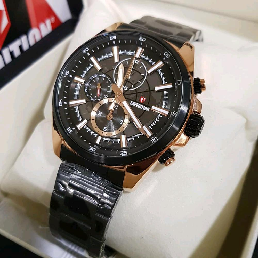 Expedition Jam Tangan Pria Leather Strap Tali Kulit Exp775us E6392 Rose Gold Black Men Harley Davidson Chrono Source E 6743