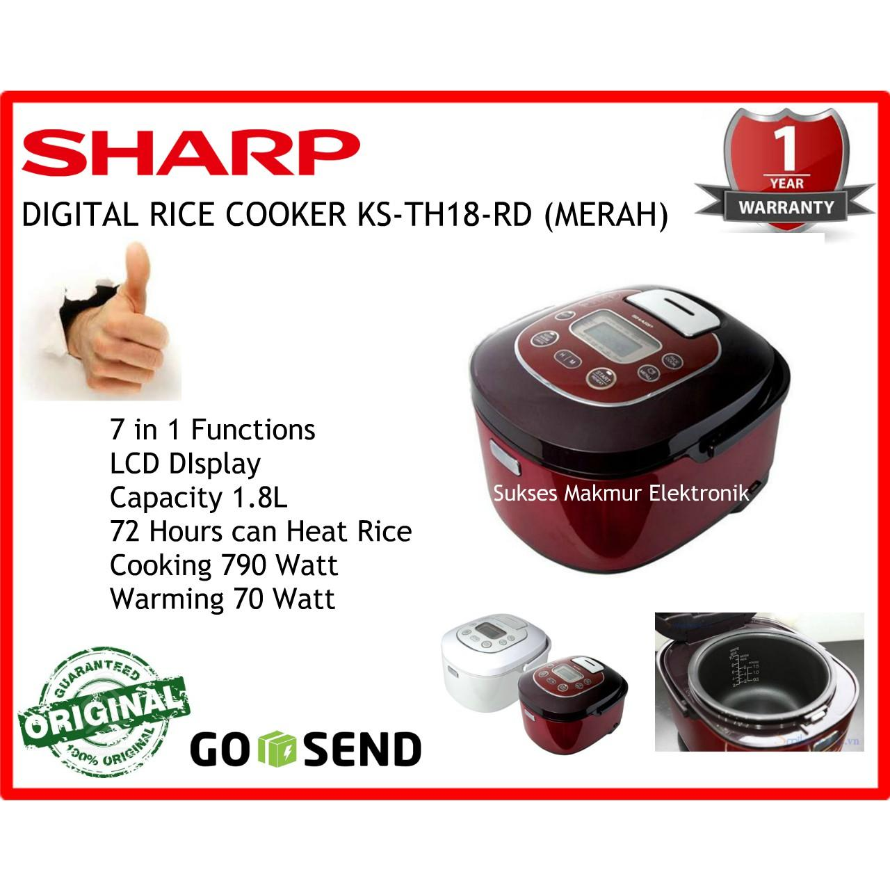 Sharp Rice Cooker 1 8lt Ks Th18 Wh Putih Daftar Harga Terlengkap R18ms Br Pp Gy Pk Rd Merah 18 Lt 790 Watt
